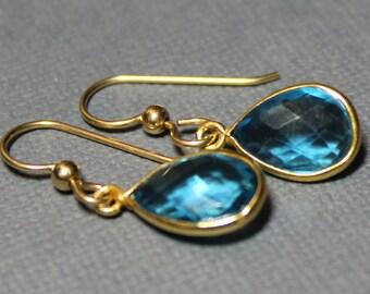 Blue Topaz Gold Fill 14K Briolette Earrings, Bezel set Blue Topaz, December  Birthstone
