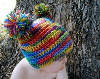 PATTERN:  Rainbow Pom Hat, easy crochet PDF, size newborn infant toddler, pom poms, crochet, InStAnT DoWnLoAd, Permission to Sell