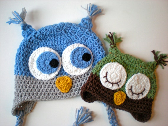 Free Crochet Patterns Childrens Animal Hats : PATTERN: Owl Hat size newborn to adult baby kid by swellamy