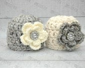 Twin girl hat set, twin girls photo prop, twin photo prop, newborn girl hat, baby girl hat, coming home outfit, twins hat set, grey, cream