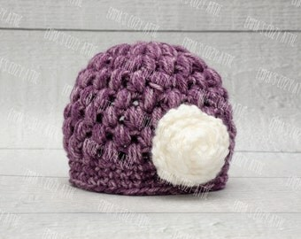 Newborn girl hat, baby girl hat, newborn girl photo prop, coming home outfit, baby girl clothes, purple, white, flower, infant girl hat,