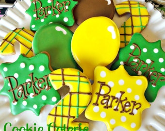 John Deere Tractor Themed Green and Yellow Birthday Party Decorated Cookies One Dozen