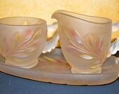 Vintage 1950 Heavy Frosted Glass Milk And Sugar Set With Tray