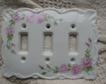 Hand Painted Baby Pink Roseson a porcelain Triple Switchplate Cover