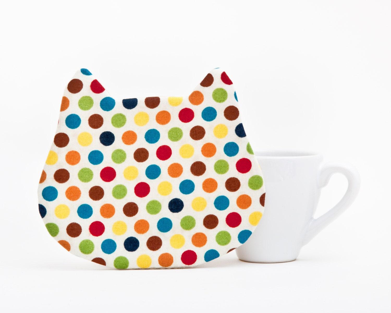 Cute Drink Coasters Housewarming Gifts Cat Fabric By Juliawine