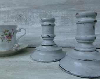 Small Paris Grey Painted Candlesticks