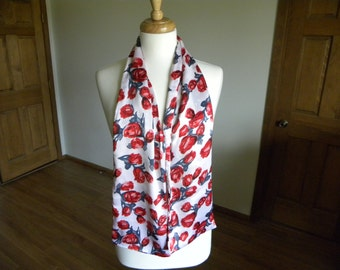 Red Roses Scarf, Women's Scarf, Long Scarf