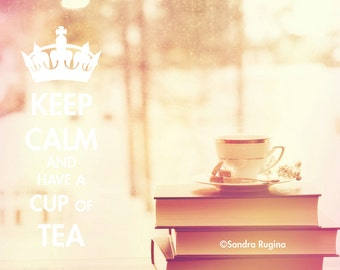 Keep calm wall art, tea time photography teacup and books, shabby chic style photography, art photo print, vintage style decor