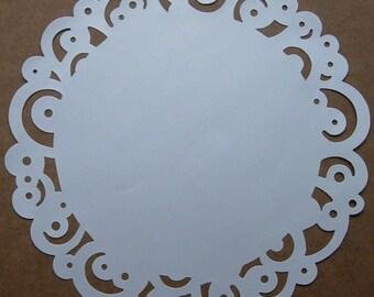 6 White Paper Doilies, Swirll Design, 12 inch size