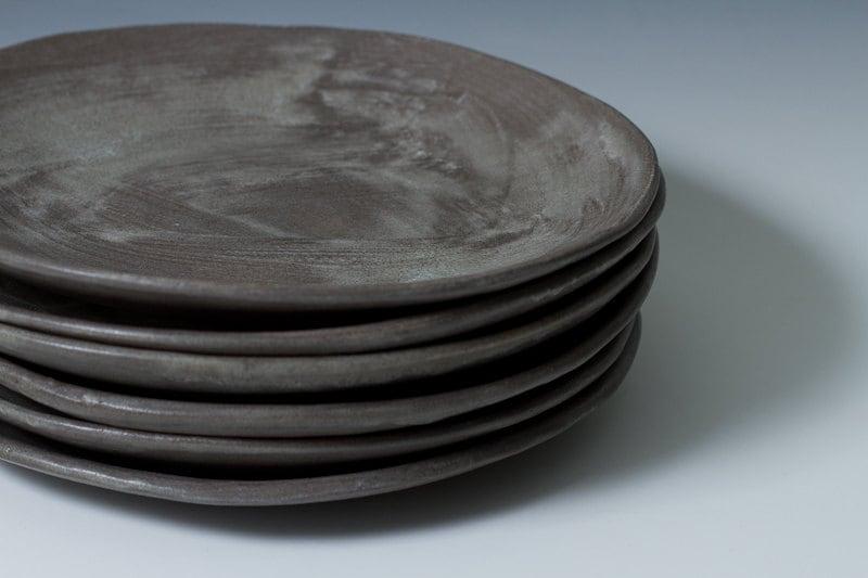 9 Charcoal Stoneware Plates Ceramic Pottery Handmade