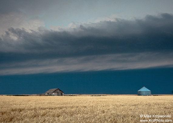 A Shelf Cloud from a Severe Thunderstorm Hovers Above an Abandoned Farm House Near Goodland, Kansas