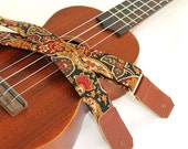 Ukulele Strap in Gypsy Paisley Earth Tones with Brown or Black Leather