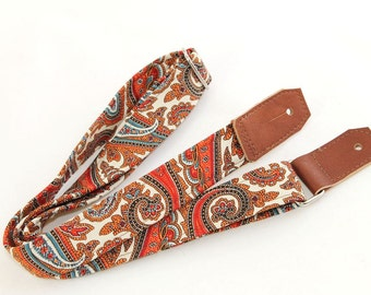 Ukulele Strap in Spice Paisley & Cream with Brown or Black Leather