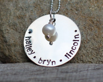 Hand Stamped Sterling Silver Personalized Name Necklace on LARGE Disc
