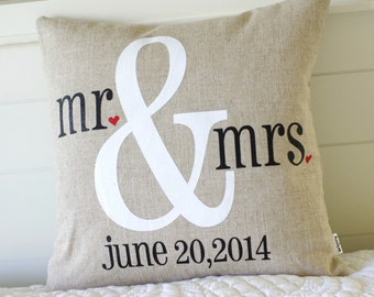 Mr. & Mrs. Pillow Cover, Option of customized date or name, screenprint on Natural Linen or Cream Twill, Wedding