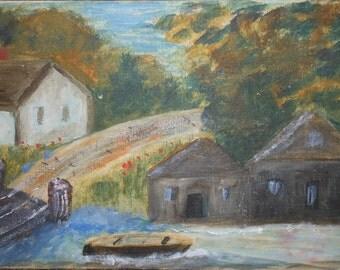 Vintage abstract maine coast scene 1950s oil on canvas
