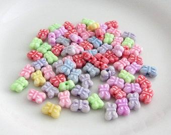 75 Acrylic Butterfly Bead Mix, Acrylic Beads, Bead Destash