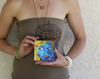Reflection - 4x4 - Fine Art Giclee Print - Blue - Blue Eyes - Woman - Yellow - Painting - Teal - Flower