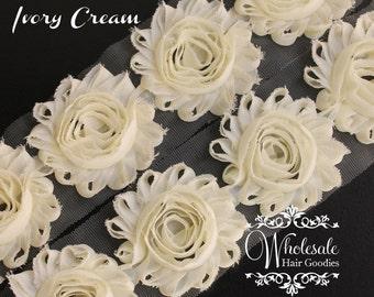 Shabby Flowers - IVORY CREAM Shabby Rose Trim - Shabby Chic - Shabby Flower Trim - DIY Flowers