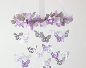 Small Butterfly Mobile- Lavender, Gray & White - Nursery Decor, Baby Shower Gift, Nursery Mobile
