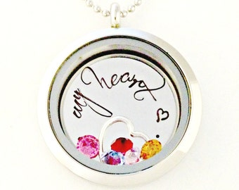 Memory Love Living Locket - Personalized Hand Stamped Floating Charm Necklace - Jewelry - Custom Disc, Sterling Heart and Birthstones