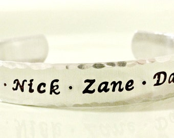 Hand Stamped Secret Message Cuff Bracelet - Personalized Jewelry - Custom Mommy Grandmother Multiples Cuff with Names and Secret Message