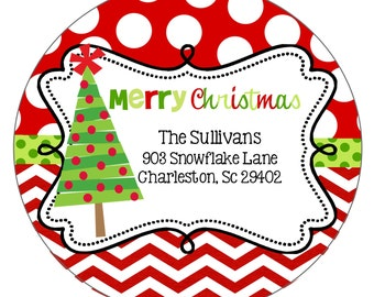 Christmas Stickers Labels - personalized-chevron- round-address- gift
