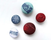 Fridge Magnet Travel Theme Magnet Set with Fabric Covered Buttons in Denim Blue, White and Dark Red