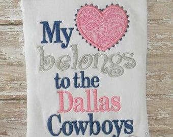Dallas Cowboys Shirt My Heart Belongs To The Dallas Cowboys Navy Blue Silver Pink Shirt or Bodysuit