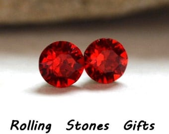 7.27mm Light Siam Studs, Red Stud Earrings, Swarovski, Crystal Stud Earrings, Bright Red Crystal Earrings