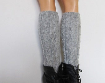 Chunky Leg Warmers Light Gray , Knit Boot Cuff- raincity boot, CHOOSE YOUR COLOR