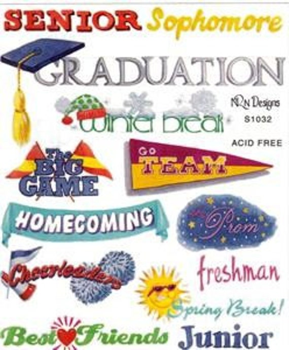 Stickers Graduate High School Student  Embellishments for  Scrapbooks Cards Display Boards