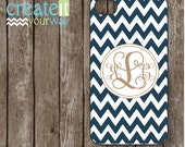 iPhone 6 Case, iPhone 5 Case - Samsung Galaxy S5 Case, Samsung Galaxy S4 Case, Gold  Monogram on Navy Chevron iPhone Case (iM4048)