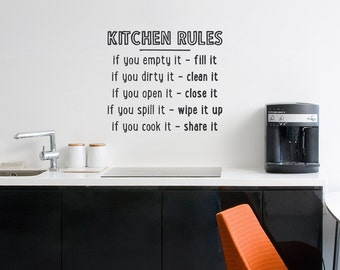 Kitchen Rules Wall Quote Decal - Kitchen Wall Sticker, Kitchen Decal Sticker, Typography Decal, Chef Art, Kitchen Rules, Decal For Mom