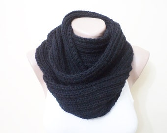 Knit Scarf, Infinity Scarf, black knit scarves, Women's Accessories, Cowl, neckwarmer, women accessories, gifts for her
