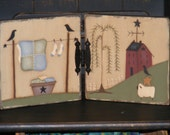 Primitive Handcrafted and Handpainted Decor-Wooden Hinged Panels with Primitive Painting