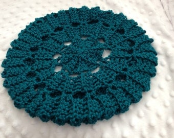 "Crochet Slouchy Hat, Crochet Beret, Teal Hat, Accessories, Women, ""Ready to Ship"""