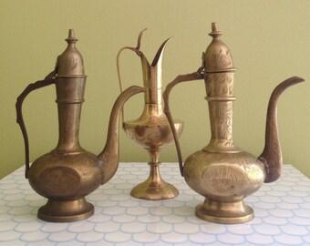 Vintage Brass Indian Pitcher Set / Brass Indian Teapot