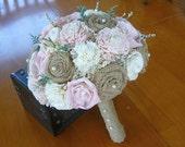 Wedding Burlap Bouquet, Sola pink Bouquet, Alternative Bouquet, Burlap Bouquet, Handmade Bouquet,
