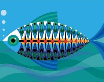 Mid Century Modern Fish Print