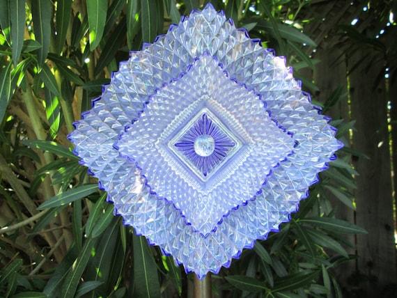 Glass Flower Garden Art Hand Painted in Lilac & Purple - Garden Decor - Garden Sculpture - Yard Art - Suncatcher - Garden Gift