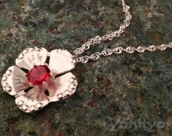 Silver Flower Necklace, Ruby style Pendant, BLOSSOM, 925 Sterling Silver Necklace, Red Gemstone Pendant, Flower Jewelry