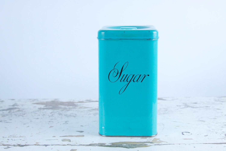 vintage teal sugar kitchen canister 50 s