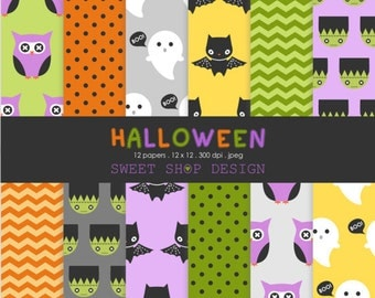 Halloween Digital Paper: CUTE HALLOWEEN, Printable Scrapbook Paper Pack, 12x12, Set of 12 Papers