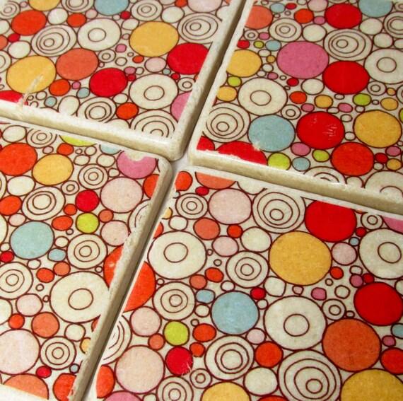 Pink and Red Mod Dot Tile Drink Coaster Set