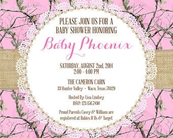 Pink Realtree Camo Baby Shower Invitation - DIY PRINT FILE
