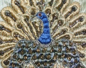 Stunning peacock embroidery worked in silks & metallic threads tinsel flora raised design