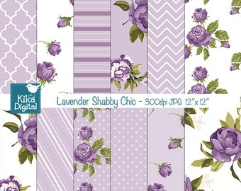 Lavender Shabby Chic Digital Papers, Digital Scrapbook Papers, Shabby Chic Papers - card design, invitations, background - INSTANT DOWNLOAD
