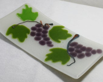 Fused Glass Plate, Made in USA, Housewares, Shower Gifts, Wedding Gift, Art Glass, , Hand Crafted in USA, Grapes, Wine, Vineyard