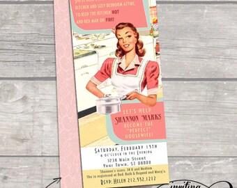 Vintage pastel retro 50s housewife Bridal Shower Invitation- Bachelorette party, Hens night, Lingerie Shower Birthday invite